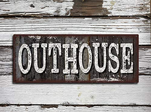 PotteLove Outhouse Sign Rustic Metal Sign Full Color Imprinted On Metal Tin Plaque Aluminum Wall Poster For Garage Man Cave Cafe Bar Pub Club Caffee Decoration 12X4 0