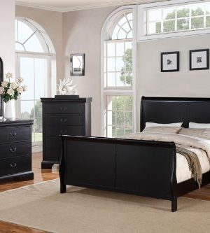 Poundex Louis Phillipe Bedroom Set Featuring French Style Sleigh Platform Bed And Matching Nightstand Dresser Mirror Chest Queen Black 0 300x333