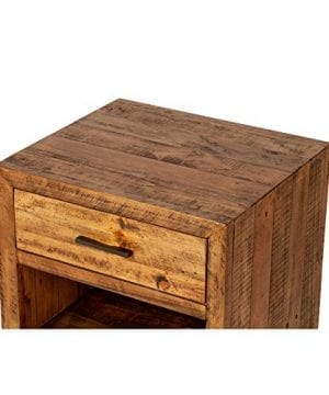 Reclaimed Pine One Drawer Nightstand Brown Farmhouse Mid Century Modern Wood Antique Handmade 0 0 300x360