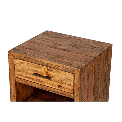 Reclaimed Pine One Drawer Nightstand Brown Farmhouse Mid Century Modern Wood Antique Handmade 0 0