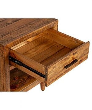 Reclaimed Pine One Drawer Nightstand Brown Farmhouse Mid Century Modern Wood Antique Handmade 0 2 300x360