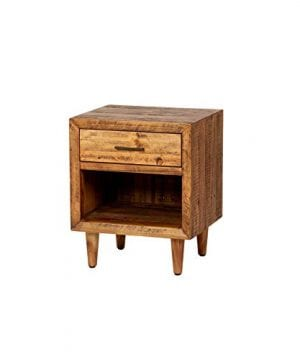 Reclaimed Pine One Drawer Nightstand Brown Farmhouse Mid Century Modern Wood Antique Handmade 0 300x360