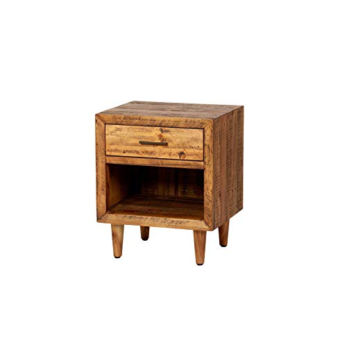 Reclaimed Pine One Drawer Nightstand Brown Farmhouse Mid Century Modern Wood Antique Handmade 0