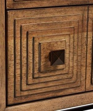 Rivet Mid Century Modern Industrial Geometric Carved Wood Bedroom Nightstand 24 Brown Black Metal 0 0 300x360