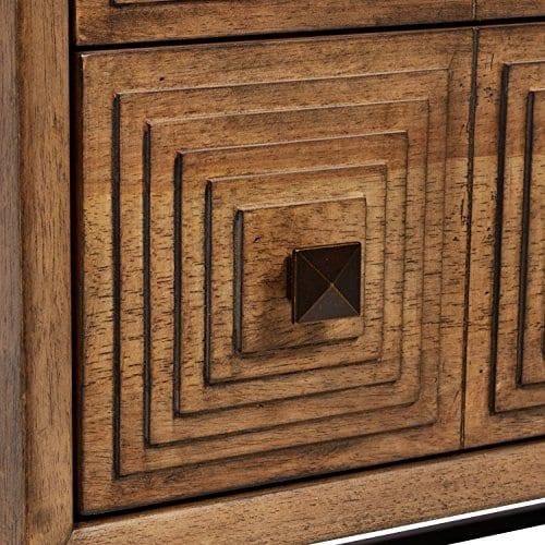 Rivet Mid Century Modern Industrial Geometric Carved Wood Bedroom Nightstand 24 Brown Black Metal 0 0