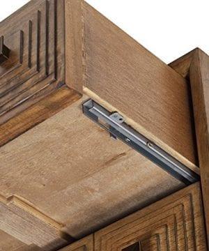 Rivet Mid Century Modern Industrial Geometric Carved Wood Bedroom Nightstand 24 Brown Black Metal 0 1 300x360