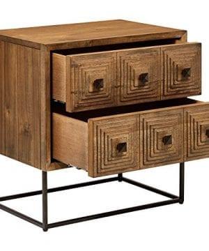 Rivet Mid Century Modern Industrial Geometric Carved Wood Bedroom Nightstand 24 Brown Black Metal 0 2 300x360
