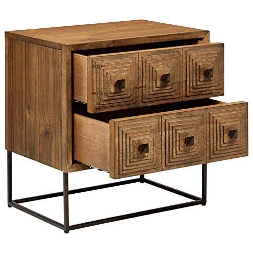 Rivet Mid Century Modern Industrial Geometric Carved Wood Bedroom Nightstand 24 Brown Black Metal 0 2