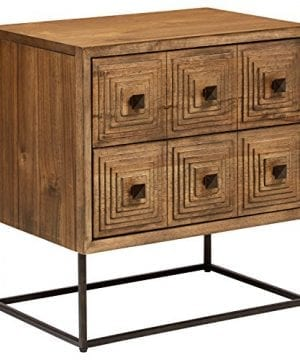 Rivet Mid Century Modern Industrial Geometric Carved Wood Bedroom Nightstand 24 Brown Black Metal 0 300x360