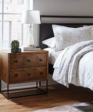 Rivet Mid Century Modern Industrial Geometric Carved Wood Bedroom Nightstand 24 Brown Black Metal 0 4 300x360