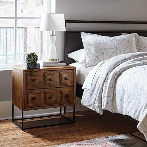 Rivet Mid Century Modern Industrial Geometric Carved Wood Bedroom Nightstand 24 Brown Black Metal 0 4