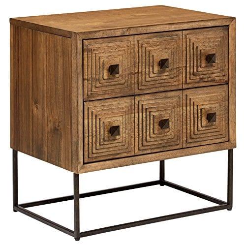 Rivet Mid Century Modern Industrial Geometric Carved Wood Bedroom Nightstand 24 Brown Black Metal 0