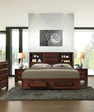 Roundhill Furniture Asger Wood Room Set Including Queen Storage Bed Dresser Mirror 2 Night Stands Chest 0 300x360