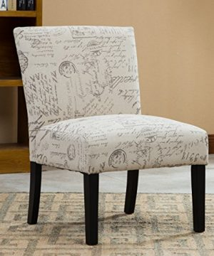 Roundhill Furniture Botticelli English Letter Print Fabric Armless Contemporary Accent Chair Single 0 300x360