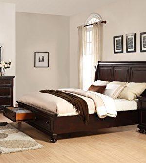 Roundhill Furniture Brishland Storage Bed Room Set King Rustic Cherry 0 300x334