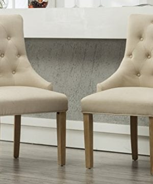 Roundhill Furniture Button Tufted Solid Wood Wingback Hostess Chairs With Nail Heads Set Of 2 Tan 0 300x360