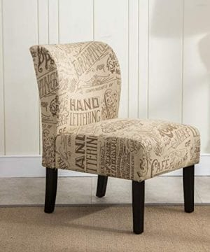 Roundhill Furniture Capa Print Fabric Armless Contemporary Accent Chair Chalkboard Light 0 300x360