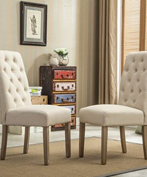 Roundhill Furniture Habit Solid Wood Tufted Parsons Dining Chair Set Of 2 Tan 0 300x360