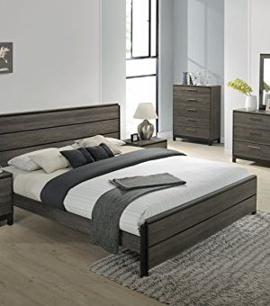 Roundhill Furniture Ioana 187 Antique Grey Finish Wood Bed Room Set Queen Size Bed Dresser Mirror 2 Night Stands Chest 0 0 300x340