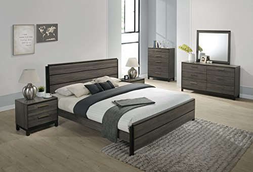 Roundhill Furniture Ioana 187 Antique Grey Finish Wood Bed Room Set Queen Size Bed Dresser Mirror 2 Night Stands Chest 0 0