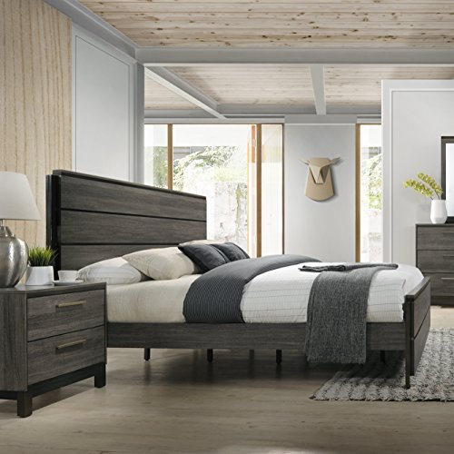 Roundhill Furniture Ioana 187 Antique Grey Finish Wood Bed Room Set Queen Size Bed Dresser Mirror 2 Night Stands Chest 0 1