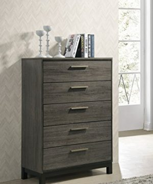 Roundhill Furniture Ioana 187 Antique Grey Finish Wood Bed Room Set Queen Size Bed Dresser Mirror 2 Night Stands Chest 0 2 300x360