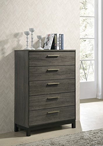 Roundhill Furniture Ioana 187 Antique Grey Finish Wood Bed Room Set Queen Size Bed Dresser Mirror 2 Night Stands Chest 0 2