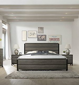 Roundhill Furniture Ioana 187 Antique Grey Finish Wood Bed Room Set Queen Size Bed Dresser Mirror 2 Night Stands Chest 0 300x322