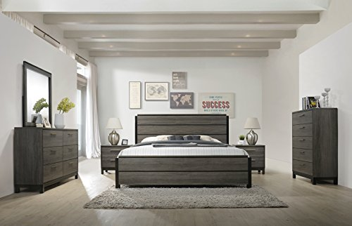 Roundhill Furniture Ioana 187 Antique Grey Finish Wood Bed Room Set Queen Size Bed Dresser Mirror 2 Night Stands Chest 0