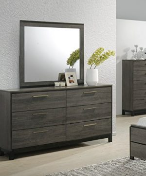 Roundhill Furniture Ioana 187 Antique Grey Finish Wood Bed Room Set Queen Size Bed Dresser Mirror Night Stand 0 1 300x360