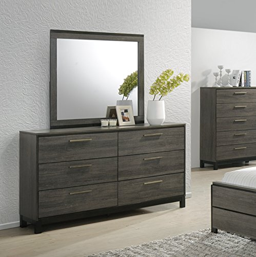 Roundhill Furniture Ioana 187 Antique Grey Finish Wood Bed Room Set Queen Size Bed Dresser Mirror Night Stand 0 1