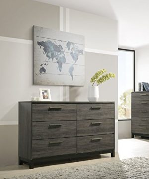 Roundhill Furniture Ioana 187 Antique Grey Finish Wood Bed Room Set Queen Size Bed Dresser Mirror Night Stand 0 2 300x360