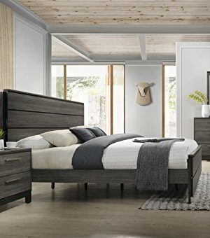 Roundhill Furniture Ioana 187 Antique Grey Finish Wood Bed Room Set Queen Size Bed Dresser Mirror Night Stand 0 300x340