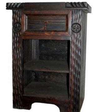 Rustic Dark Nightstand Western Real Wood End Table Bedside Table 0 300x360