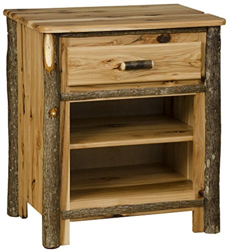 Rustic Hickory 1 Drawer And 1 Shelf Nightstand 0