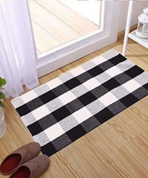 SHACOS Buffalo Check Rug 2x3 Ft Cotton Woven Rug Doormat Throw Rug For Entryway Kitchen Bathroom Laundry Room 2x3 Black White 0 1 300x360