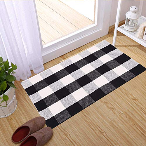 SHACOS Buffalo Check Rug 2x3 Ft Cotton Woven Rug Doormat Throw Rug For Entryway Kitchen Bathroom Laundry Room 2x3 Black White 0 1
