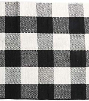 SHACOS Buffalo Check Rug 2x3 Ft Cotton Woven Rug Doormat Throw Rug For Entryway Kitchen Bathroom Laundry Room 2x3 Black White 0 300x337