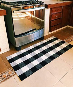 SHACOS Buffalo Check Rug 2x3 Ft Cotton Woven Rug Doormat Throw Rug For Entryway Kitchen Bathroom Laundry Room 2x3 Black White 0 4 300x360