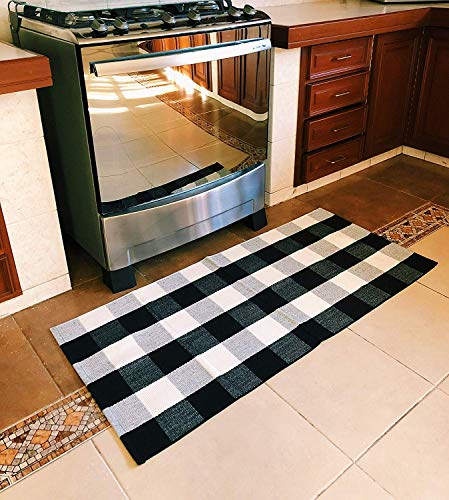 SHACOS Buffalo Check Rug 2x3 Ft Cotton Woven Rug Doormat Throw Rug For Entryway Kitchen Bathroom Laundry Room 2x3 Black White 0 4