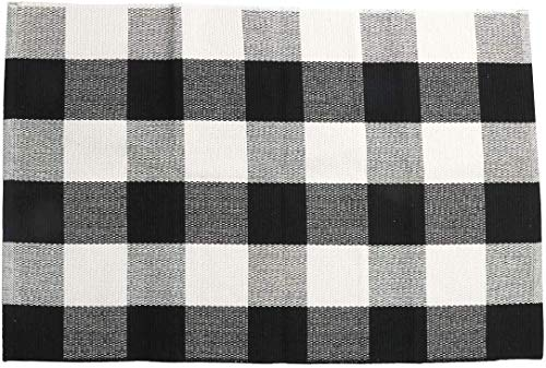 SHACOS Buffalo Check Rug 2x3 Ft Cotton Woven Rug Doormat Throw Rug For Entryway Kitchen Bathroom Laundry Room 2x3 Black White 0