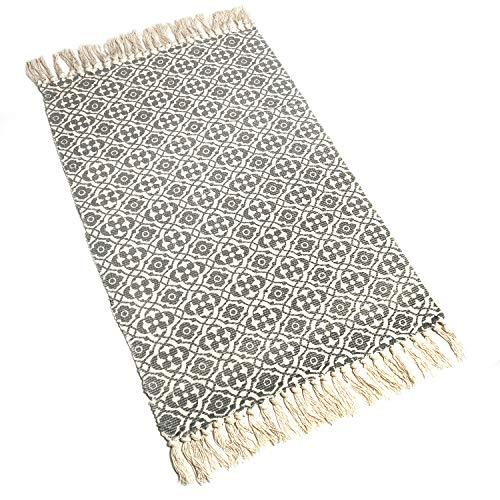 SHACOS Cotton Woven Rug With Tassel Doormat Washable Throw Rug Floor Rug Mat For Kitchen Bedroom Entryway Laundry Room 2x3 Grey Datura 0 0