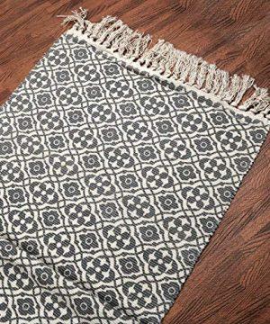 SHACOS Cotton Woven Rug With Tassel Doormat Washable Throw Rug Floor Rug Mat For Kitchen Bedroom Entryway Laundry Room 2x3 Grey Datura 0 1 300x360