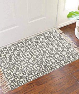 SHACOS Cotton Woven Rug With Tassel Doormat Washable Throw Rug Floor Rug Mat For Kitchen Bedroom Entryway Laundry Room 2x3 Grey Datura 0 2 300x360
