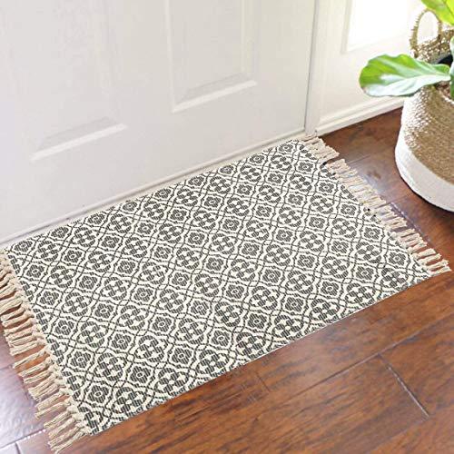 SHACOS Cotton Woven Rug With Tassel Doormat Washable Throw Rug Floor Rug Mat For Kitchen Bedroom Entryway Laundry Room 2x3 Grey Datura 0 2
