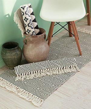 SHACOS Cotton Woven Rug With Tassel Doormat Washable Throw Rug Floor Rug Mat For Kitchen Bedroom Entryway Laundry Room 2x3 Grey Datura 0 3 300x360