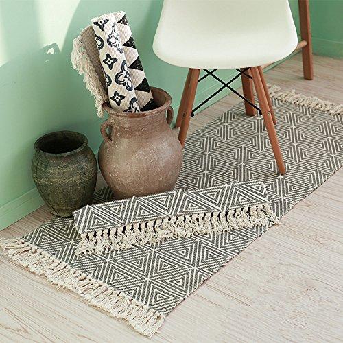 SHACOS Cotton Woven Rug With Tassel Doormat Washable Throw Rug Floor Rug Mat For Kitchen Bedroom Entryway Laundry Room 2x3 Grey Datura 0 3