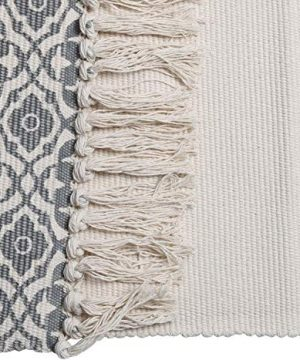 SHACOS Cotton Woven Rug With Tassel Doormat Washable Throw Rug Floor Rug Mat For Kitchen Bedroom Entryway Laundry Room 2x3 Grey Datura 0 4 300x360