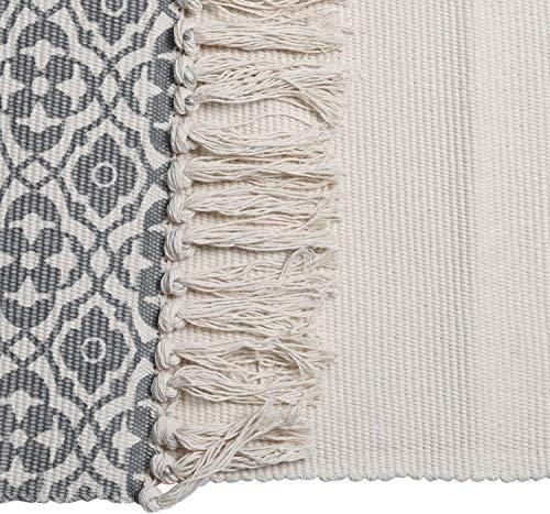 SHACOS Cotton Woven Rug With Tassel Doormat Washable Throw Rug Floor Rug Mat For Kitchen Bedroom Entryway Laundry Room 2x3 Grey Datura 0 4