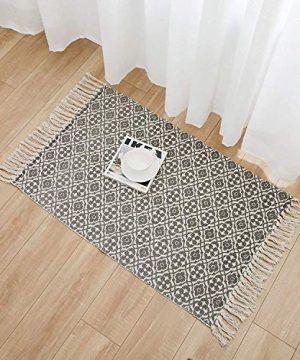 SHACOS Cotton Woven Rug With Tassel Doormat Washable Throw Rug Floor Rug Mat For Kitchen Bedroom Entryway Laundry Room 2x3 Grey Datura 0 5 300x360